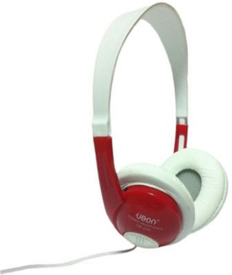 Trend Telelinks UBON UB-220 Wired bluetooth Headphones(White with red, Over the Ear)