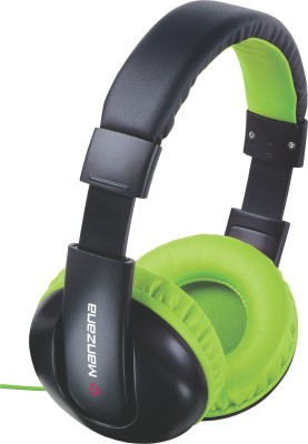 Manzana HangOn Noise Isolation Headphone With Mic Headphone(Green+Gray, Over the Ear) 1