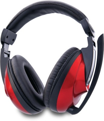Iball Dhak Dhak33 Wired Headset with Mic(Red, Over the Ear) 1