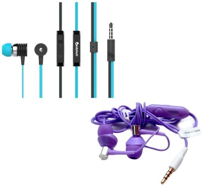 Candytech Stereo Dynamic Handsfree Gaming Wired Earphones Combo HF-S-40-BU + HF-BS-PL Headset with Mic(Blue, Purple, In the Ear)  available at flipkart for Rs.349