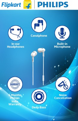 Philips SHE 1455WT/94 Wired Headset with Mic(White, In the Ear)
