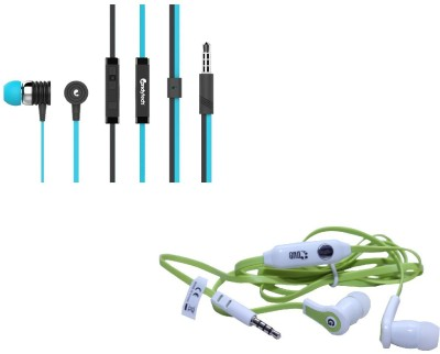 Candytech Stereo Dynamic Handsfree Gaming Wired Earphones Combo HF-S-40-BU+HF-FW-GN Wired Headset with Mic(Blue, Green, In the Ear)  available at flipkart for Rs.399