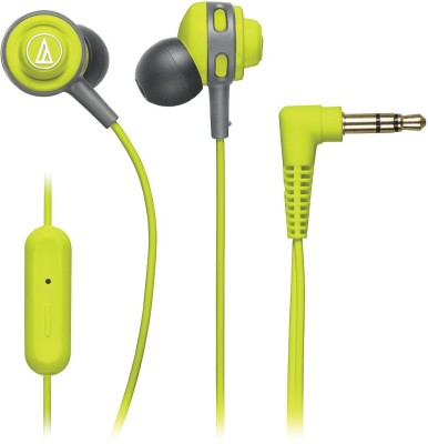 Audio Technica ATH COR150iS LG Headset with Mic(Lime Green, In the Ear)