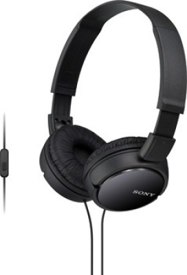 Sony MDR-ZX110AP Wired Headset with Mic(Black, On the Ear)  available at flipkart for Rs.1390