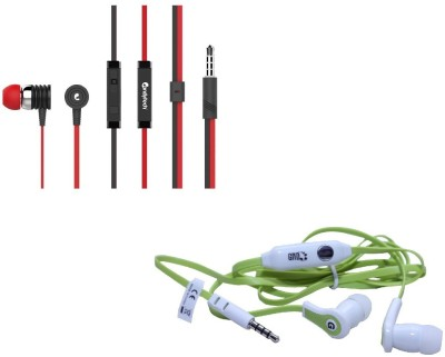 Candytech Stereo Dynamic Handsfree Gaming Wired Earphones Combo HF-S-40-RD+HF-FW-GN Wired Headset with Mic(Red, Green, In the Ear)  available at flipkart for Rs.350