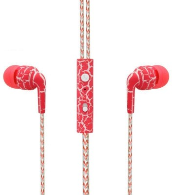 SPN Leapard Print Universal Wired Headset with Mic(Red, In the Ear) 1