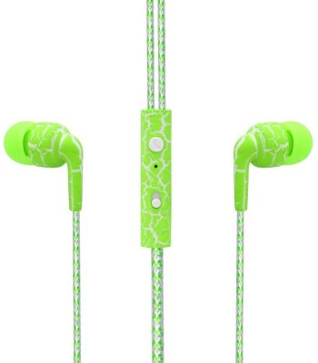 SPN Leapard Print Universal Wired Headset with Mic(Green, In the Ear) 1