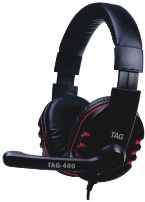 TAG Headphone with Mic USB-400 Wired Headset with Mic(Black, Over the Ear) 1
