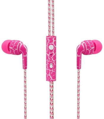 SPN Leapard Print Universal Wired Headset with Mic(Pink, In the Ear) 1