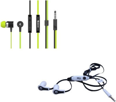 Candytech Stereo Dynamic Handsfree Gaming Wired Earphones Combo HF-S-40-GN+HF-FW-BK Wired Headset with Mic(Green, Black, In the Ear)  available at flipkart for Rs.345