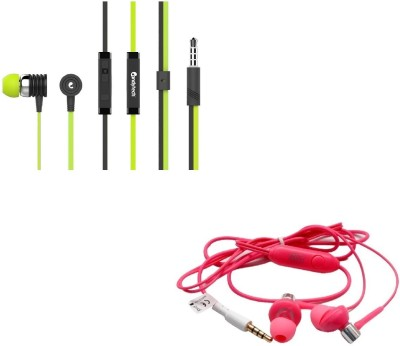 Candytech Stereo Dynamic Handsfree Gaming Wired Earphones Combo HF-S-40-GN + HF-BS-PK Wired Headset with Mic(Green, Pink, In the Ear)  available at flipkart for Rs.349