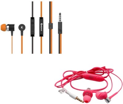 Candytech Stereo Dynamic Handsfree Gaming Wired Earphones Combo HF-S-40-OG + HF-BS-PK Headset with Mic(Orange, Pink, In the Ear)  available at flipkart for Rs.345