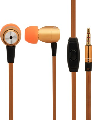 Candytech High Quality metal housing stereo earphones with Multi-Functional Microphone HF-M3uv-OG Wired Headset with Mic(Orange, In the Ear)