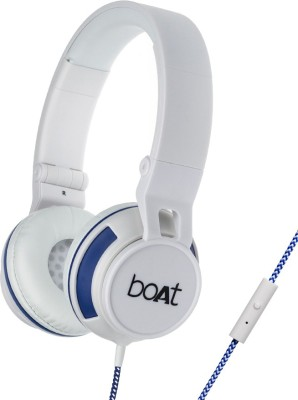 boAt BassHeads 600 Wired Headset with Mic(White and Blue, On the Ear) 1