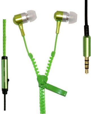 CREATION4U Zipper Z1031 Stereo Dynamic Tangle Free Handfree Wired Headset with Mic(Green, In the Ear)