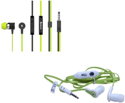 Candytech Stereo Dynamic Handsfree Gaming Wired Earphones Combo HF-S-40-GN+HF-FW-GN Wired Headset with Mic(Green, Green, In the Ear)  available at flipkart for Rs.355