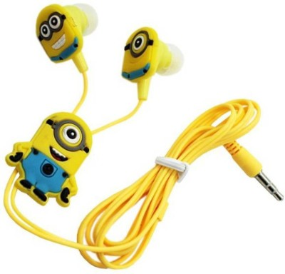 Pinglo Minions With Mic Edition Earphones Stereo Wired Headphones (Yellow, In the Ear Wired Headset With Mic(Yellow)