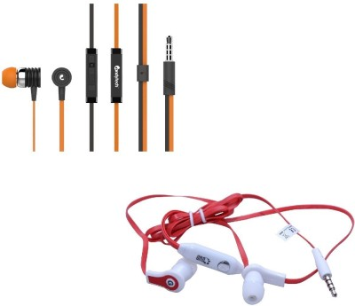 Candytech Stereo Dynamic Handsfree Gaming Wired Earphones Combo HF-S-40-OG+HF-FW-RD Wired Headset with Mic(Orange, Red, In the Ear)  available at flipkart for Rs.345