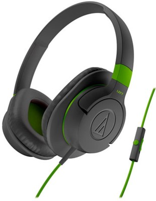 Audio Technica ATH-AX1iS GY Wired Headset with Mic(Grey, Over the Ear)