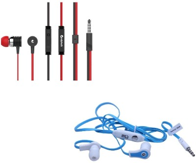 Candytech Stereo Dynamic Handsfree Gaming Wired Earphones Combo HF-S-40-RD+HF-FW-BU Wired Headset with Mic(Red, Blue, In the Ear)  available at flipkart for Rs.399