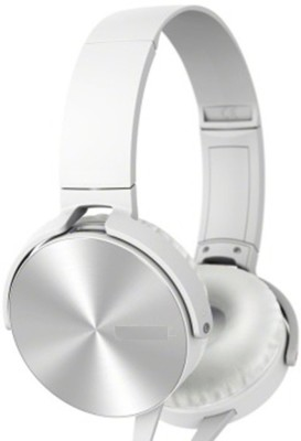 A Connect Z MDR-XB450-Stylish good Sound Hdst-299 Wired Headset with Mic(White, Over the Ear) 1
