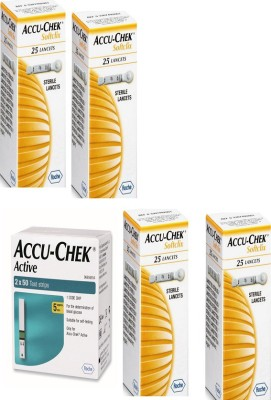 Accu-Chek Active 100 Strips & 4 Packs of 25 Lancets Glucometer Health Care Appliance Combo