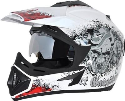 VEGA Off Road D/V Gangster Motorsports Helmet(White Red)