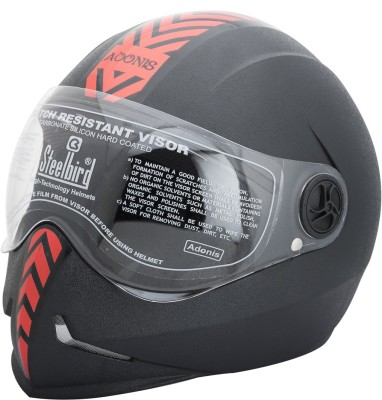 Steelbird Dashing Adonis with Red Sticker Motorbike Helmet(Black)  available at flipkart for Rs.800