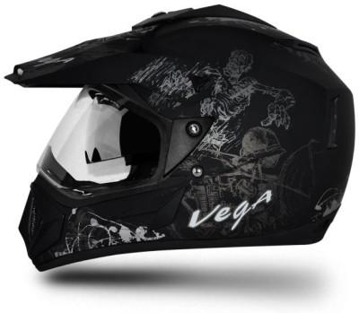 Vega Off Road Motorbike Helmet(Dull Black, Silver Graphic)