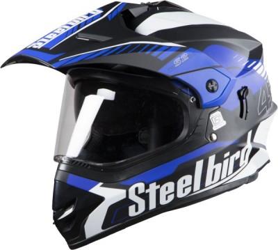 Steelbird SBH-13/SB-42 Motorbike Helmet(Matt black and blue)