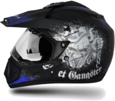 VEGA Off Road D/V Gangster Motorbike Helmet(Black M.Blue)