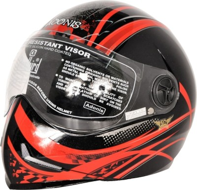 Steelbird Adonis Graphics Dot Full Face Motorbike Helmet(Black, Red)