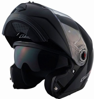 LS2 386 Matt Black Flip-Up With Dual Visor Motorbike Helmet(Black)