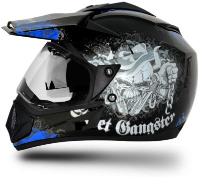 VEGA Off Road D/V Gangster Motorbike Helmet(Black Blue)
