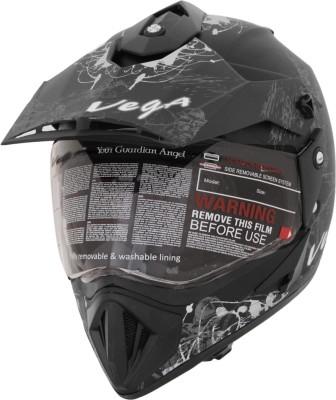 VEGA Off Road D/V Motorsports Helmet(Silver, Dull Black)