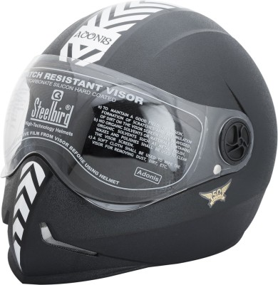 Steelbird Dashing Adonis with Silver Sticker Motorbike Helmet(Black)  available at flipkart for Rs.835