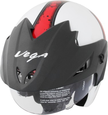 Vega Cruiser W/P Arrows Motorsports Helmet(White Red) at flipkart