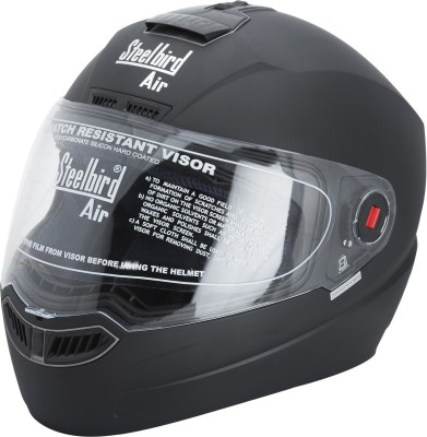 Steelbird SBA-1 Glossy Matt Black Motorbike Helmet(Black)