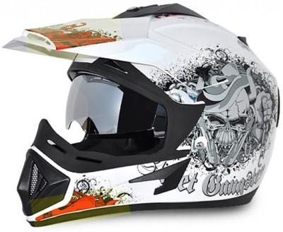 VEGA Off Road Gangster Motorbike Helmet(White, Orange)
