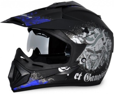VEGA Off Road D/V Gangster Motorbike Helmet(Dull Black, Blue)