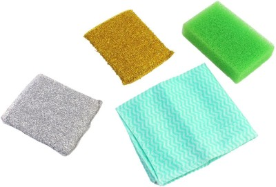 HOKIPO 4 Pieces Cleaning Set: 2 Sponge + 1 Wipe + Scrub Pad Cleaning Cloth at flipkart