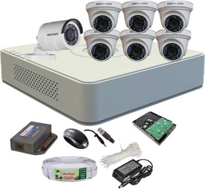 Hikvision-DS-7108HGHI-F1-Mini-8CH-Dvr,-6(DS-2CE56C2T-IR)-Dome,-1(DS-2CE16C2T-IRB)-Bullet-Camera-(With-Mouse,-1TB-HDD-1Pcs,-Bnc&Dc-Connectors,Power-Supply,-Cable)