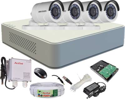 Hikvision-DS-7104HGHI-F1-Mini-4CH-Dvr,-4(DS-2CE16COT-IRP)-Bullet-Cameras-(With-Mouse,-500GB-HDD,-Bnc&Dc-Connectors,Power-Supply,Cable)