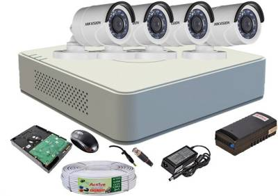 Hikvision-DS-7104HGHI-F1-Mini-4CH-Dvr,-4(DS-2CE16COT-IR)-Bullet-Cameras-(With-Mouse,-1TB-HDD,-Bnc&Dc-Connectors,Power-Supply,Cable)