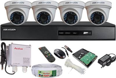 Hikvision-DS-7204HGHI-SH-4CH-Dvr,-4(DS-2CE56COT-IR)-Dome-Cameras-(With-Mouse,-Remote,-500GB-HDD-,-Bnc&Dc-Connectors,Power-Supply,Cable)