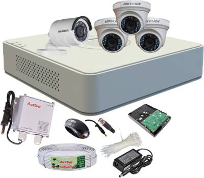 Hikvision-DS-7104HGHI-F1-Mini-4CH-Dvr,-3(DS-2CE56C2T-IR-)-Dome-,1(DS-2CE16C2T-IRB)-Bullet-Camera-(With-Mouse,-1TB-HDD,-Bnc&Dc-Connectors,Power-Supply,Cable)