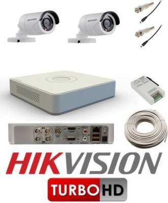 Hikvision-DS-7104HGHI-E1-4CH-Dvr,-2(DS-2CE16C0T-IRP)-Bullet-Camera-(With-Cable,-BNC-&DC-Connectors,-Power-Supply)
