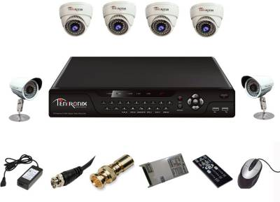 Tentronix-T-8AVR-6-D4B210-8--Channel-Dvr-4-(1-MP)-Dome-2-(1-MP-)Bullet-Cameras