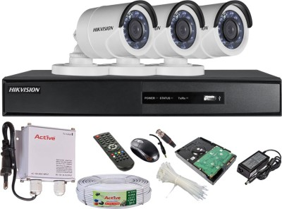Hikvision-DS7204HGHISH-4-Channel-DVR-,-3-(DS-2CE16COT-IR)-Bullet-Cameras