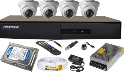 Hikvision-4CH-DS-7204HGHI-E1-Turbo-4-Channel-Dvr-4-Dome-CCTV-Cameras-(With-4TB-H.D,Mouse,Remote,Power-Supply,BNC-&-DC-Connectors,Power-Adopter,Cable)